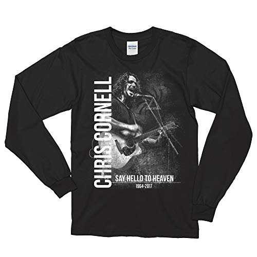 RockNRoll Emporium USA (NOT CHINA) RIP Soundgarden_Audioslave_Chris Cornell Tribute Screen Long Sleeve (Medium, Black) (Soundgarden Albums Best To Worst)