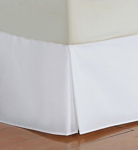 Vedanta Home Collection Hotel Quality 700-Thread-Count Egyptian Cotton Queen Size One Piece Split Corner Bed Skirt 17 Inch Drop Length White Solid - White Queen 14' Drop