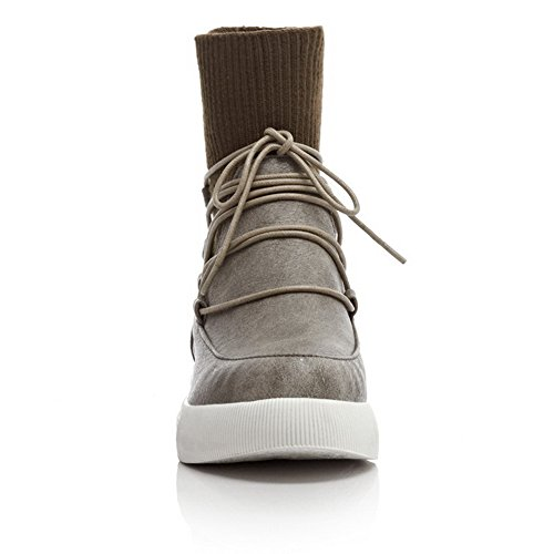 1TO9 Ladies Bandage Color Matching Thick Bottom Heel Platform Imitated Leather Boots Gray SuFPmpMj2r