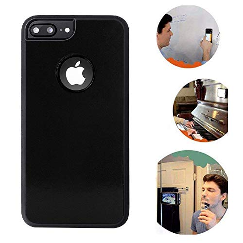 Anti Gravity iPhone 7 Plus Case, iPhone 8 Plus Case, Sticky Selfie Suction Black Anti Gravity Case for iPhone 7P/8P Magic Nano Hands Free Stick to Wall Gravity Case with Dust Proof Film