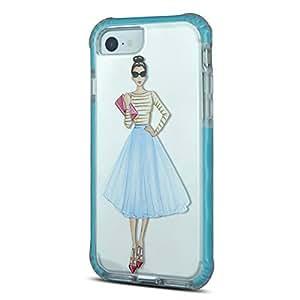 iOrigin Clear Bumper Case for iPhone 7 Plus (Woman Blue Skirt)