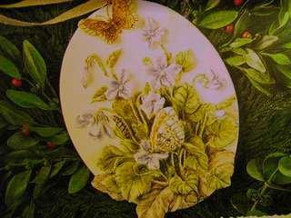 QK1079 Violets and Butterflies Nature's Sketchbook Marjolein Bastin 1995 Hallmark Keepsake Ornament
