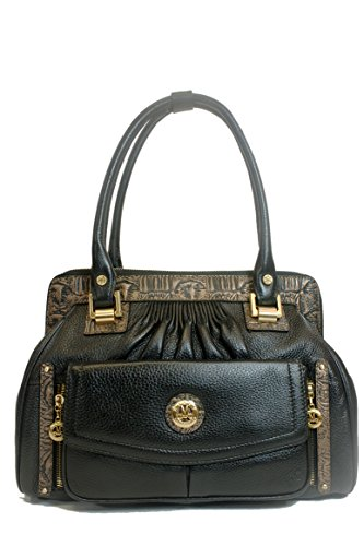 Misty Genuine Cowhide Handbag From Italy & 24k Gold Plated Accessories Mct7601-bk