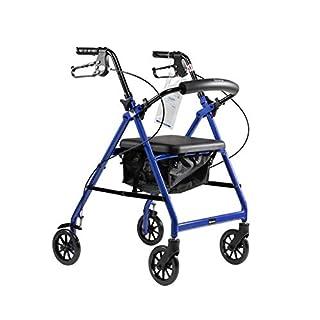 "DynaGo Quad 6 Foldable Aluminum Rollator with 6"" Wheels, Blue"