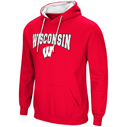 Colosseum NCAA Men's-Cold Streak-Hoody Pullover Sweatshirt with Tackle Twill-Wisconsin Badgers-Cardinal-Large