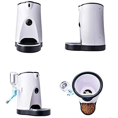 KK- DOG Automatic Pet Feeder with 110° Hd Camera Video Recording Real-Time Sharing 250Ml Water Feeder, Pet Supplies 4L White