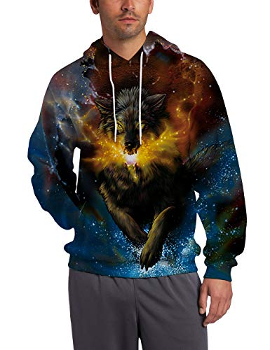 - Men Women Hooded Sweater Crewneck 3D Printed Wolf Gold Starshine Sweatshirt with Kanga Pocket Personalized Dream Galaxy Sportewear Black Blue Long Sleeve Fleece Comfy Warm Winter Jackets for Teen Boys