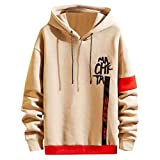 iLOOSKR Winter Men's Long Sleeve Letter Printing Hooded Sweatshirt Top Tee Outwear Blouse Khaki