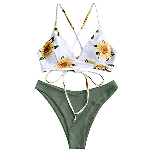 (ZAFUL Women's Back Lace-up Swimsuit Flower Print Cheeky Thong Bikini (L, Camouflage)