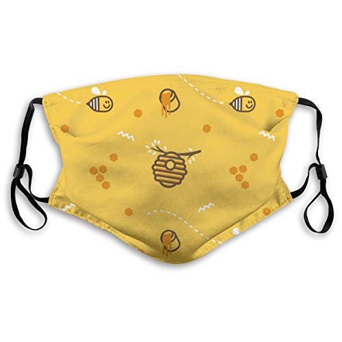 MAMIBAOYA Cute Flying Little Bee Hive Honeycomb with Honey KN95 Mouth Mask, Replaceable Filter Element for Reuse Mask Personality Printed Anti-Pollen Dust Mask Anti-dust Polyester Face Mask
