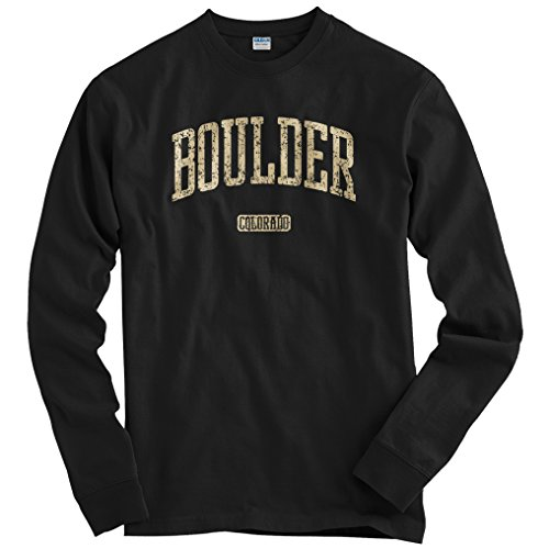 Boulder Colorado - Smash Vintage Men's Boulder Colorado Long Sleeve T-shirt - Black, X-Large