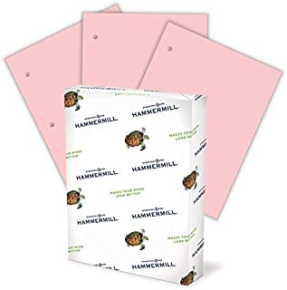 product image for Hammermill Colored Paper, 20 lb Pink Printer Paper, 3 Hole - 1 Ream (500 Sheets) - Made in the USA, Pastel Paper