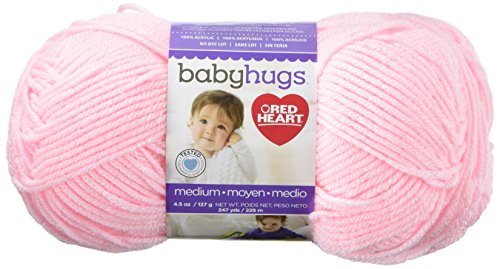 RED HEART Baby Hugs Medium Yarn, Pinkie (Acrylic Crochet Heart)