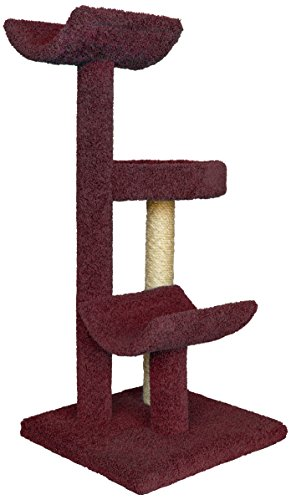 Molly and Friends Three-Tier Scratching Post Furniture, Burgundy by Molly and Friends