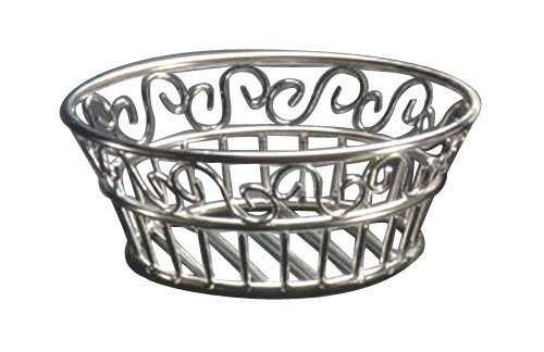 (American Metalcraft SSLB83 Stainless Scroll Bread Basket, 8-Inch Diameter)