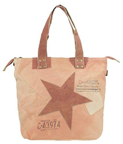 Bolso de compra señora Sunsa Vintage Bolso de hombro bolso de mano hecho de tela / tela con cuero 51865