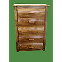 Midwest Log Furniture - Torched Cedar Log Dresser - 5 Drawer