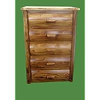 Midwest Log Furniture - Torched Cedar Log Dresser - 5 Drawer