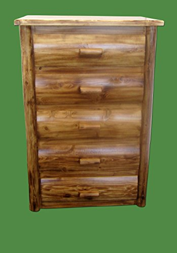 Midwest Log Furniture - Torched Cedar Log Dresser - 5 Drawer - Log Vanity
