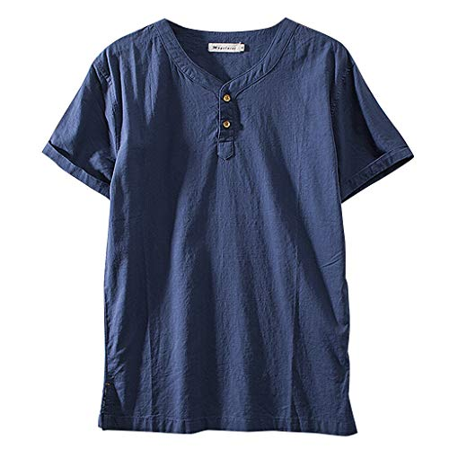 WYTong Men's Active Athletic Crew T-Shirt Chinese Style Casual Straight Cotton Short Sleeve Comfort Soft Short Sleeve top(Navy,M)