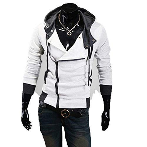 2019 Casual Cardigan Men Hoodie Sweatshirt Long Sleeved Slim Fit Male Zipper Hoodies Assassins Creed Jacket Plus Size M-6XL,Large,White ()