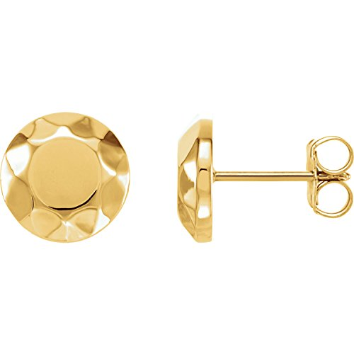 Women's 14k Yellow Gold Round Faceted Design Circle Stud Earrings - (0.35x0.35-inch Dimensions) ()