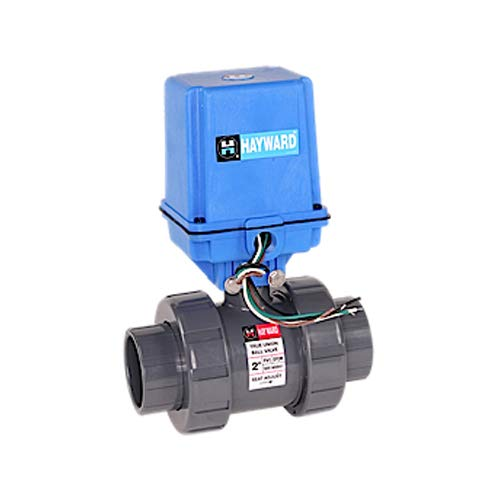(Hayward EATB1200STE Series EA TB True Union Ball Valve, Automated, Socket/Threaded End, PVC with EPDM Seals, 2