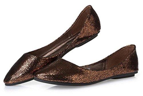 Kvinna Tillfälliga Loafers Balett Slip På Komfort Platta Skor Brun