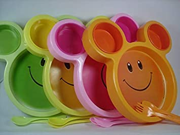 Kieana Smiley Plates With Fork Spoon For Birthday Return Gifts
