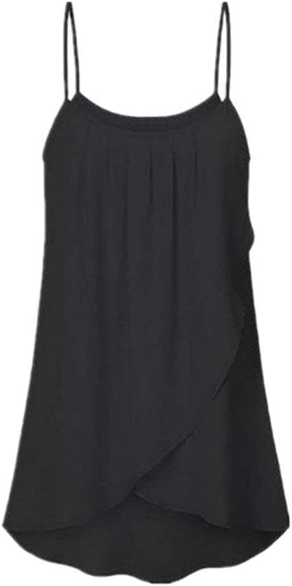 POLP Crop Tops Camiseta sin Mangas para Mujer Gasa Aire Libre Finos Tirantes Camisetas Talla Grandes Irregular Chaleco sin Mangas de Yoga Ropa de Fitness S-5XL: Amazon.es: Ropa y accesorios