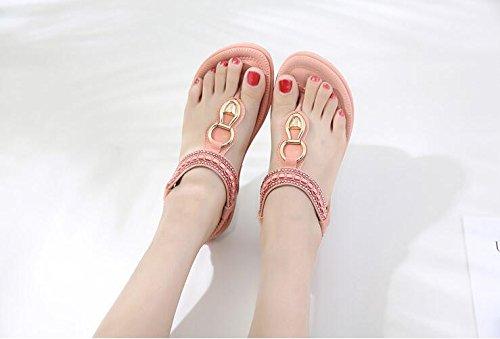 Rhinestones Koyi de pies Bohemia Inferior Mujeres Plano de los Pink Las Sandalias de Parte la Sandalias de Las w1W16rpqEx