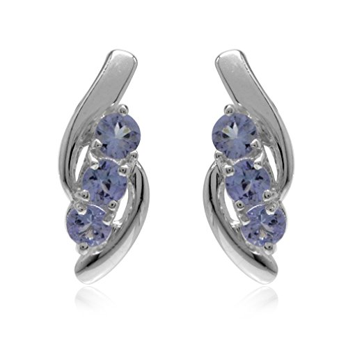 Silvershake 3 Stones Genuine Tanzanite White Gold Plated 925 Sterling Silver Stud Earrings