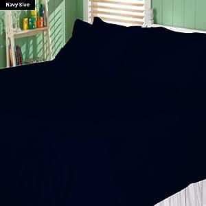 100% Egyptian Cotton 20 Inch Deep Pocket 550 TC Stripe Pattern 6 Piece Sheet Set (Full XL , Navy Blue)