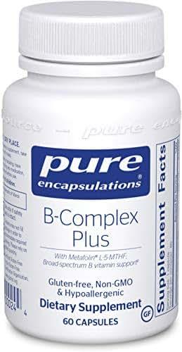 Pure Encapsulations - B-Complex Plus - Balanced B Vitamin Formula with Metafolin L-5-MTHF and Vitamin B12-60 Capsules