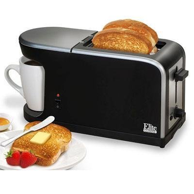 Elite Cuisine ECT-819 MaxiMatic 2-in-1 Dual Function Breakfast Station Toaster and Coffee by Elite Cuisine