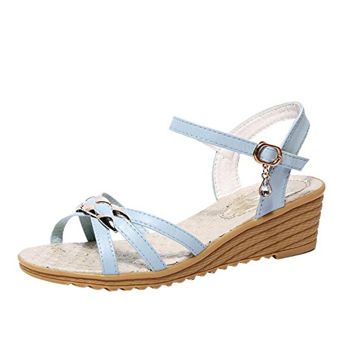 ANDAY Casual College Style Lady Womens Summer Open toe Travel Beach Wedges Sandals Blue 5QX1do1