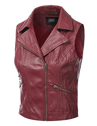 J.TOMSON Womens Asymmetrical Zip-Up Faux Leather PU Moto Vest BURGUNDY LARGE