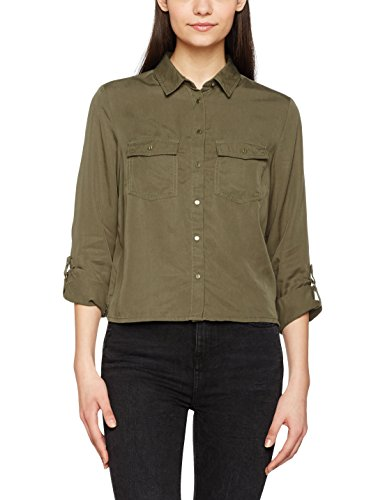 New Look Tencel Crop, Camiseta para Mujer Verde (Dark Khaki)