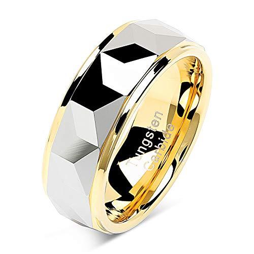 (100S JEWELRY Tungsten Rings for Men Women Wedding Band Polished Facet Cut Gold Step Edge Sizes 6-16 (Tungsten, 10.5))