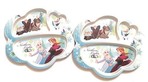 Zak! 2 Pack Disney Frozen Anna, Elsa, Olaf, Kristoff, Northern Lights Aglow BPA-Free Plastic 3 Section Divided Plates ()