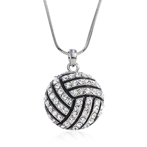 (PammyJ Volleyball Jewelry - Volleyball Pendant Charm Necklace with Clear Crystals, 18
