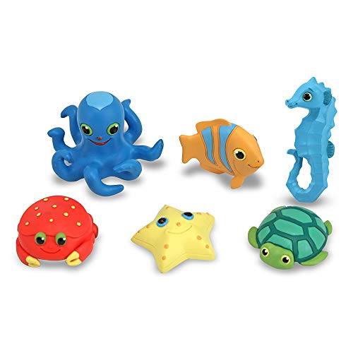 Melissa & Doug Sunny Patch Seaside Sidekicks Creature Set - Water Toys for Kids (Beach, Bath, or Pool, 6 Pieces, Great Gift for Girls and Boys - Best for 3, 4, and 5 Year Olds)