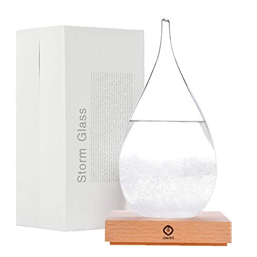 Storm Glass Weather Forecaster Weather Station Fashion Creative Office Desktop and Home Decor Water Drop Glass Bottle -Large (Crystal Weather Station)