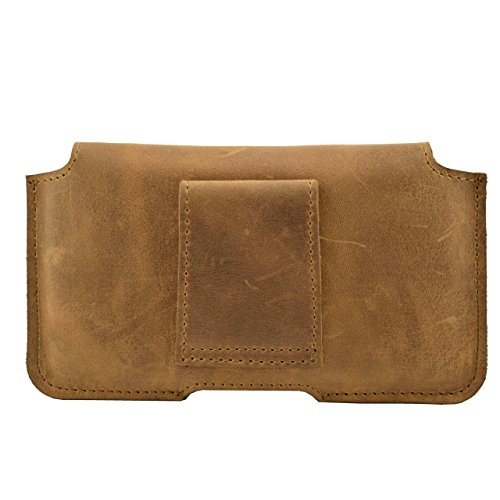ORLINE Custodia Fondina in Vera Pelle Custodia Protettiva Apple Iphone 7 Plus 5,5 pollici Custodia in pelle Etui Custodia in pelle case Cover con chiusura magnetica supporto al passante per cintura in