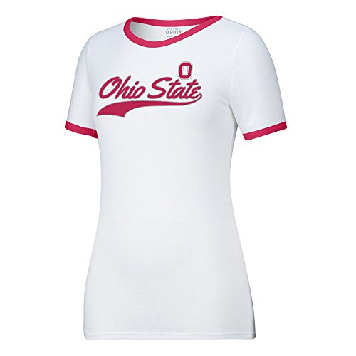- J America NCAA Ohio State Buckeyes Women's Make A Move Tee, White/Red, Large