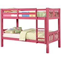 HOMES: Inside + Out ioHOMES Carra Transitional Bunk Bed, Twin, Pink