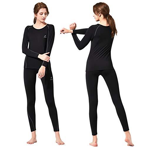 (Feelvery Women's HEATPRO Active Performance Long Johns Thermal Underwear Set with Excellent Soft Warm Fleece Lined (Black, Medium))