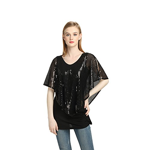 Yagoor Women's Crew Neck Tunic Blouse Ruffle Shirt Black Sequined 2-Piece Top Top s