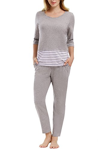 Cotton Thermal Sleepshirt (Yulee Women's Long Sleeve Sleepwear Cotton Two-Piece Thermal Pajama PJ Set, Large, Gray)