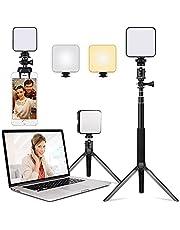 Iluminación de videoconferencias LED con soporte ajustable para trípode, 2500 K - 6500 K, luz de vídeo CRI95+ con trípode y clip, apto para reuniones en línea, transmisión en vivo, fotografía, Vlogging